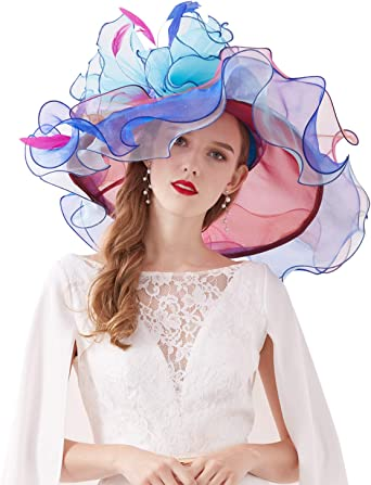 Z/&X Womens Organza Church Hat Floral Big Wide Brim Gauze Kentucky Derby Summer Sun Hat