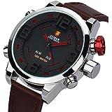 Orologio da uomo Pelle Marrone Zeiger Orologio sportivo da polso, da uomo, cinturino in pelle marrone, orologio al quarzo impermeabile, con quadrante digitale a LED W296-W297