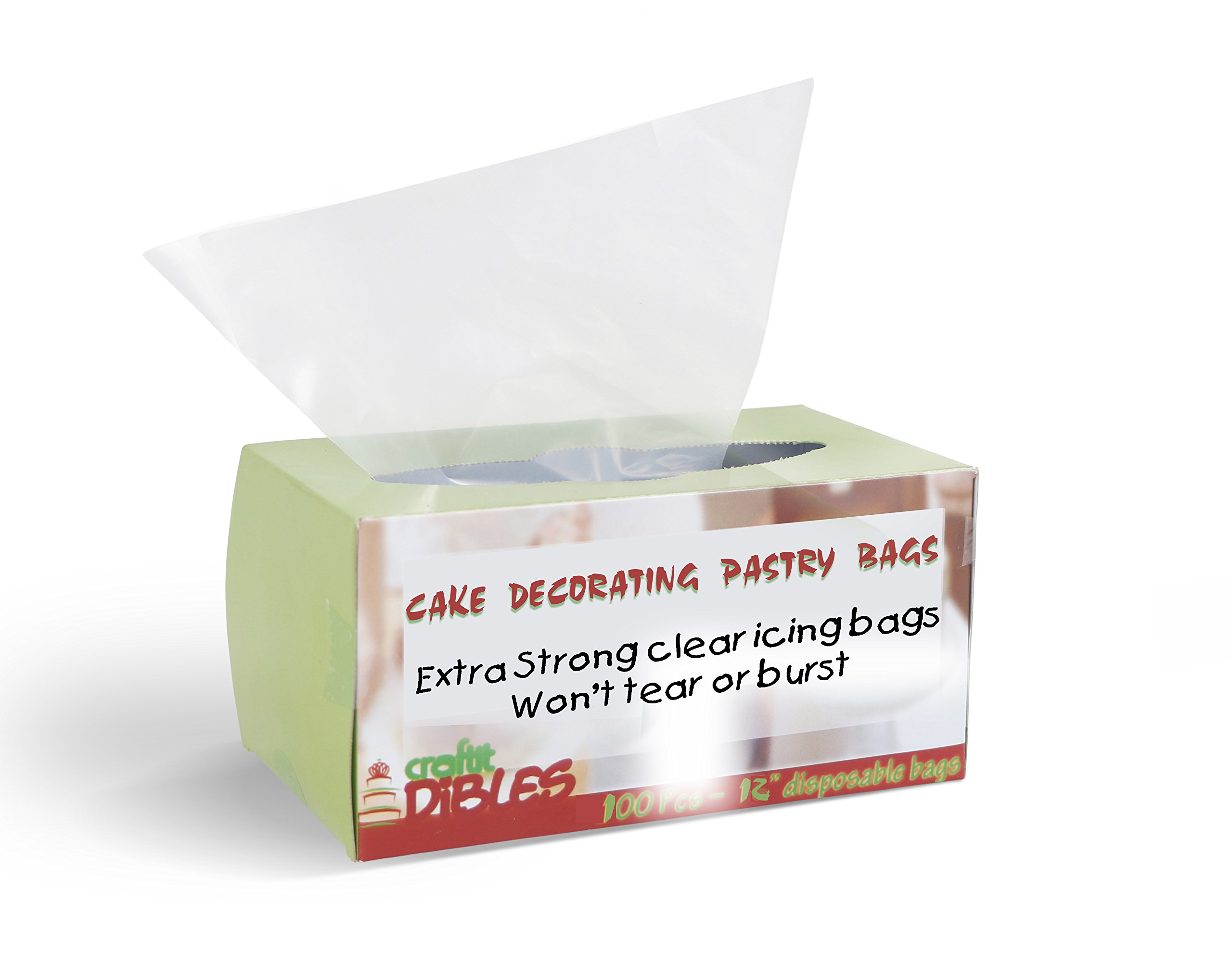 100 Pcs - Cake Decorating, Pastry Bags, in Dispenser Box - 12 Inch, Extra Thick Disposable Icing Bags. Microwave safe. By CiE
