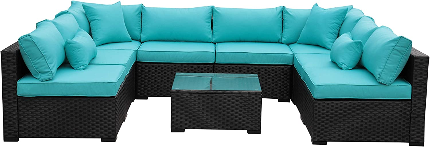 Outdoor Rattan Sectional Sofa Patio Pe Wicker Conversation Furniture Set 9 Piece Turquoise Garden Outdoor
