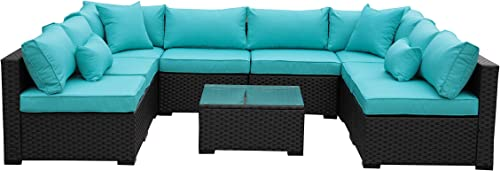 Outdoor Rattan Sectional Sofa – Patio PE Wicker Conversation Furniture Set 9-Piece,Turquoise