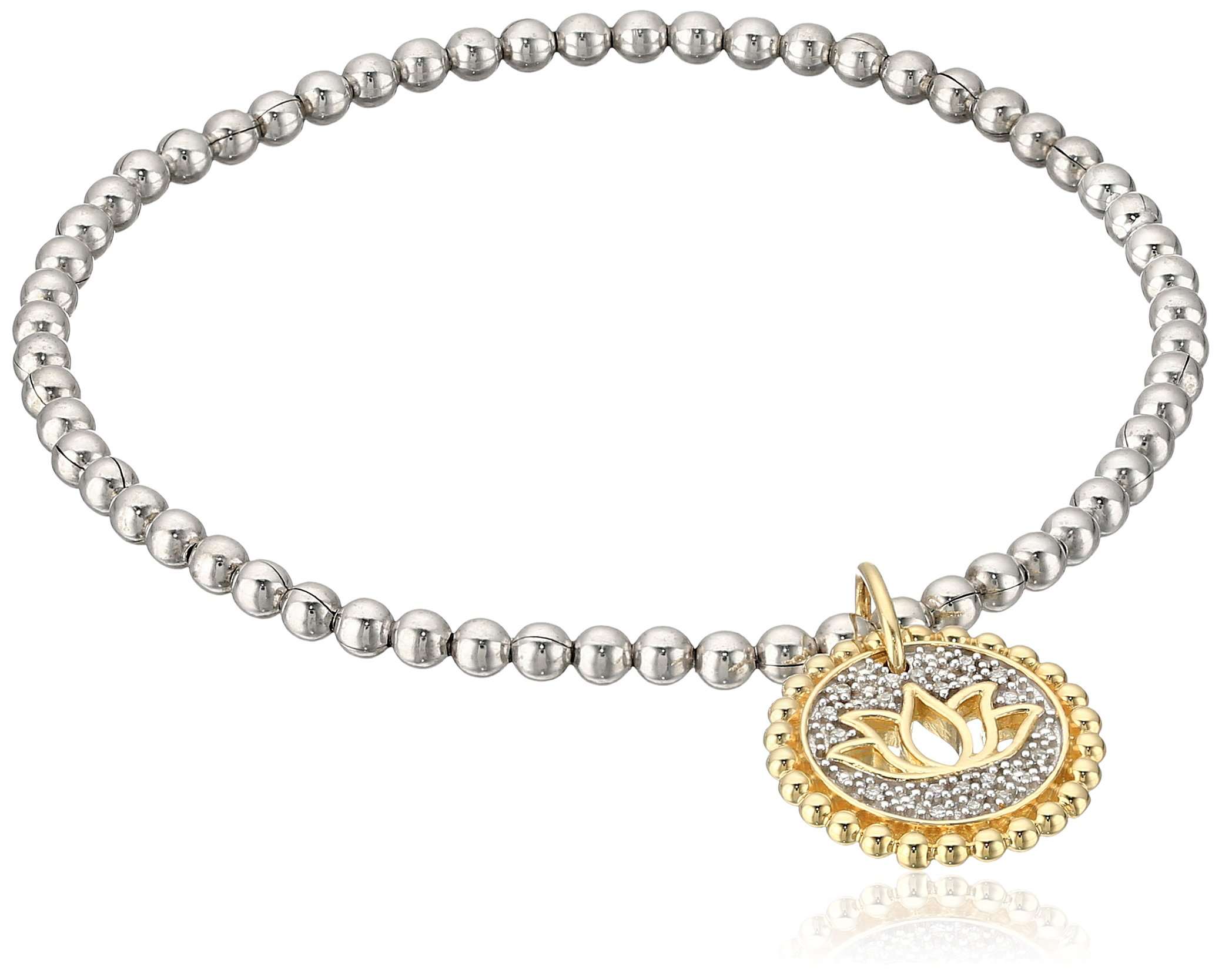 Sterling Silver and 10k Yellow Gold Diamond Accent Stretch Bead Lotus Cut Out with Charm Bracelet