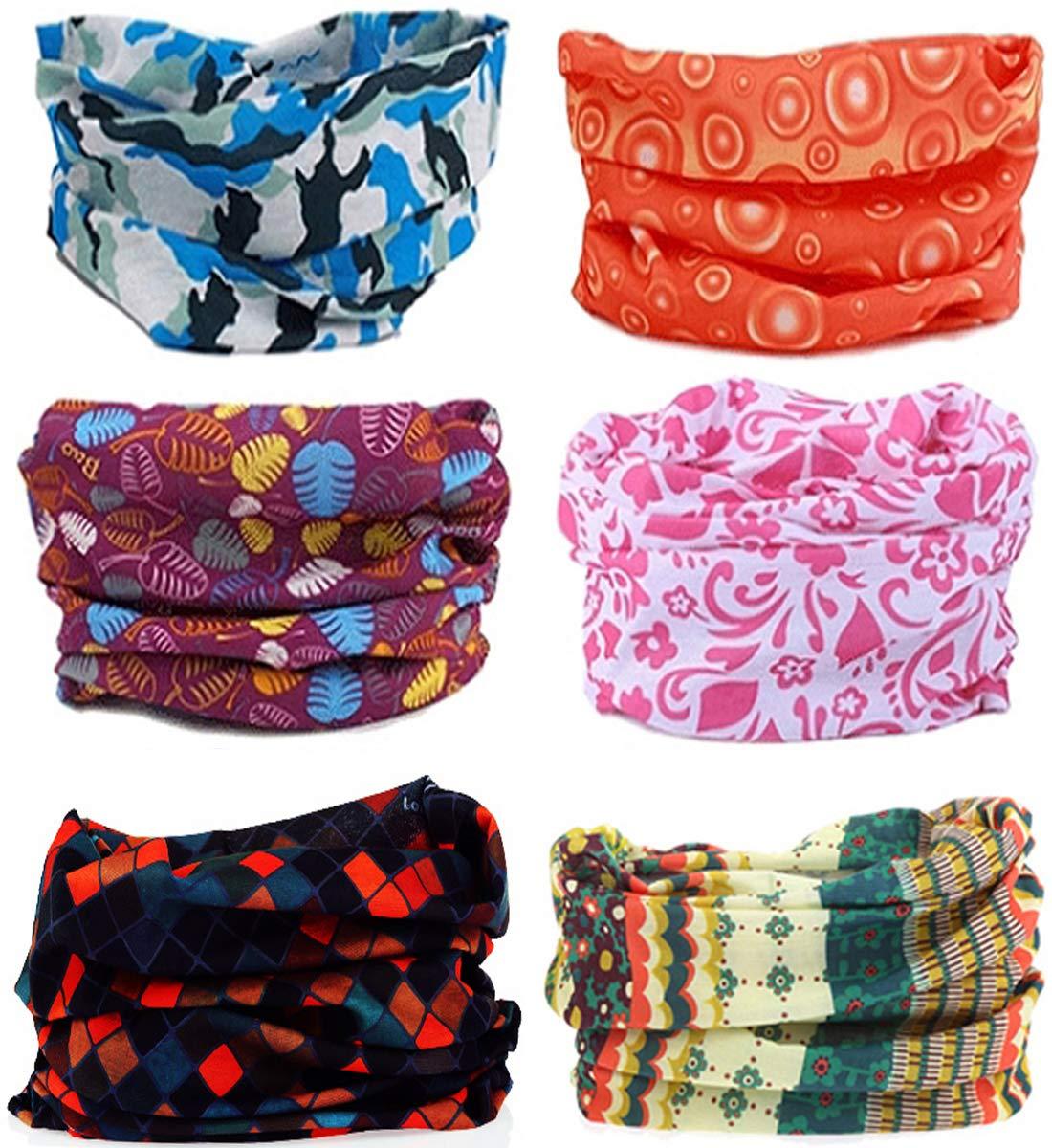SmilerSmile 6pcs Assorted Seamless Outdoor Sport Bandanna Headwrap Scarf Wrap, 12 in 2 High Elastic Magic Headband & Collars Muffler Scarf Face Mask UV Resistance(33 Print4)