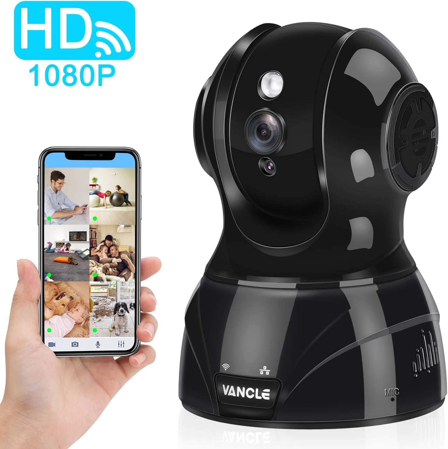 Vancle Wireless IP Camera 1080p HD with Motion Detection Night Vision Two Way Audio Pan Tilt Zoom Supports 2.4G WiFi for Home Surveillance Baby Pet Monitor, Compatible with Alexa 1080P – Black