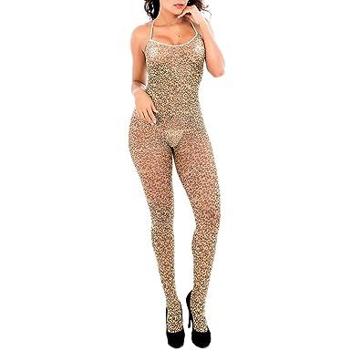 7b4884a1549e6 Shmimy Bodystockings Damen elastische Leopard Netz Strumpfhose ...