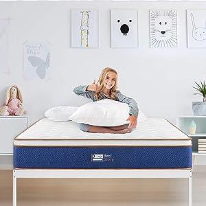 BedStory Queen Mattress, 10Inch Latex Infused Memory Foam and Pocket Spring Mattress, Relieve Stress& Deepen Sleep, Bed Mattress in Small Box, Medium Firm Mattresses
