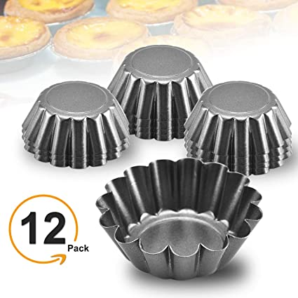 Desserts Carbon Steel,Cheese Cakes Quiche pan and More 12 PCS Egg Tart Molds,Muffin Cake Mold 3.0 x 0.9inch,Cupcake Cake Muffin Mold Tin Pan Baking Tool