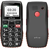 ARTFONE C1 GSM Big Button Mobile Phone for Elderly, Senior Mobile Phone with With SOS Emergency Button -Black/Orange