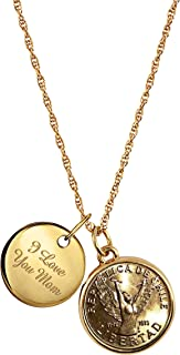 product image for Chilean Angel Coin Goldtone Pendant with I Love You Mom Charm | Coin and Charm Mom Necklace | Three Inch Extender Chain with Lobster Claw Clasp
