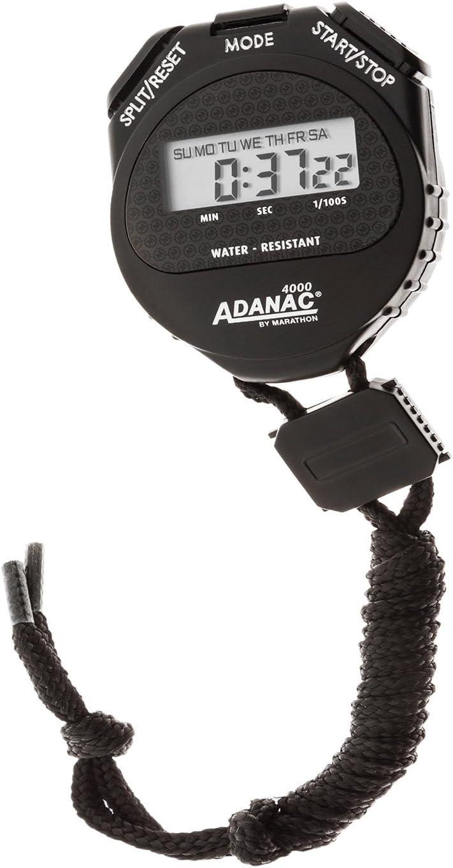 color negro Cron/ómetro digital con pantalla extragrande y botones MARATHON ST083009 Adanac 4000 resistente al agua