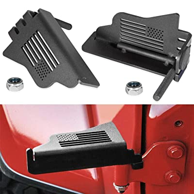 2pcs Steel Front Foot Pegs Rest Pedal Exterior Door Hinge With US Flag for 2007-2020 Jeep Wrangler JK JKU JL JLU: Automotive