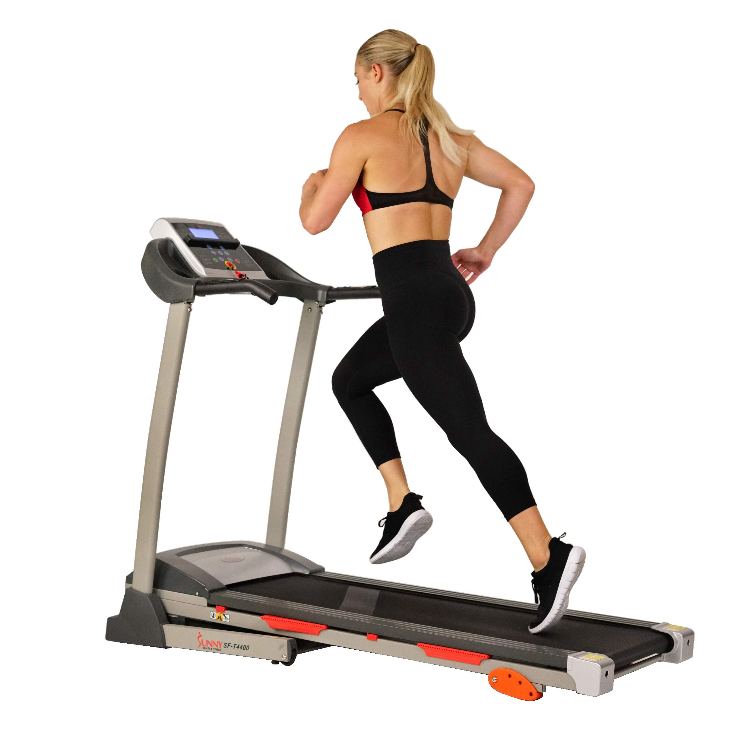 Sunny Health & Fitness Treadmill Motorized Running Machine with LCD Display, Tablet Holder, Shock Absorption, 220 LB Max…