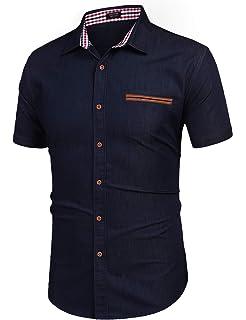Coolfandy Camisa de manga corta para hombre, de un solo color, de corte normal, para verano, informal: Amazon.es: Ropa y accesorios