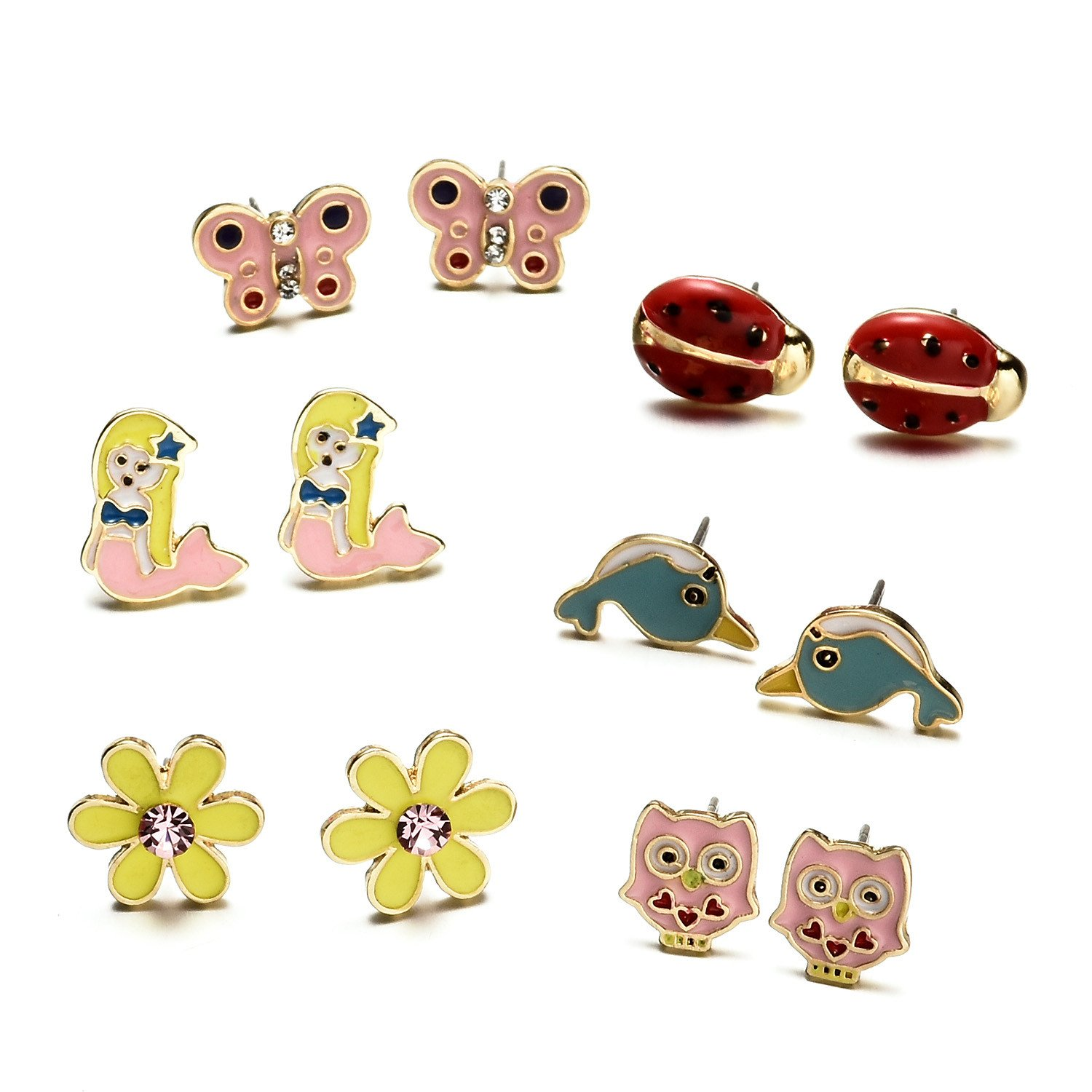 f8fb6afdd ... Cute Animals Stud Earrings Set For Kids Girls Hypoallergenic  Nickel-free Dragon larger image