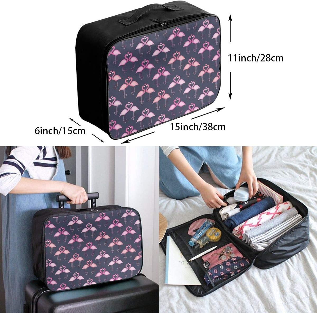 Yunshm Cute Seamless Flamingo Pattern Vector Image Customized Trolley Handbag Waterproof Unisex Large Capacity For Business Travel Storage