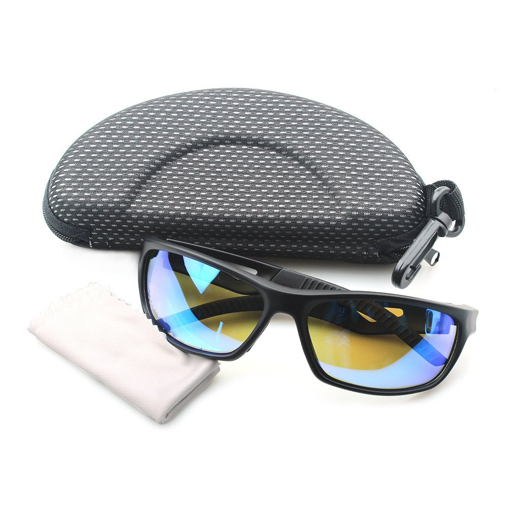 Polarized Sunglasses Anti Glare Driving Wrap Around Driving Square Frame Motorcycle Block Comfortable Durable Construction Outdoor Sports Eyewear UV blue by ZHIYIJIA (Image #7)