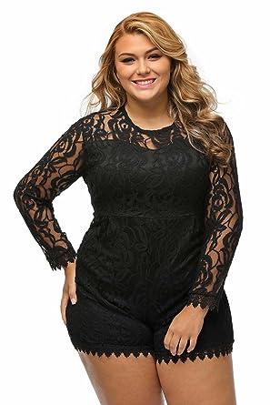 3fead4c6c68f1 roswear Women s Plus Size Round Neck Long Sleeve Lace Romper Dress Black  XXXX-Large
