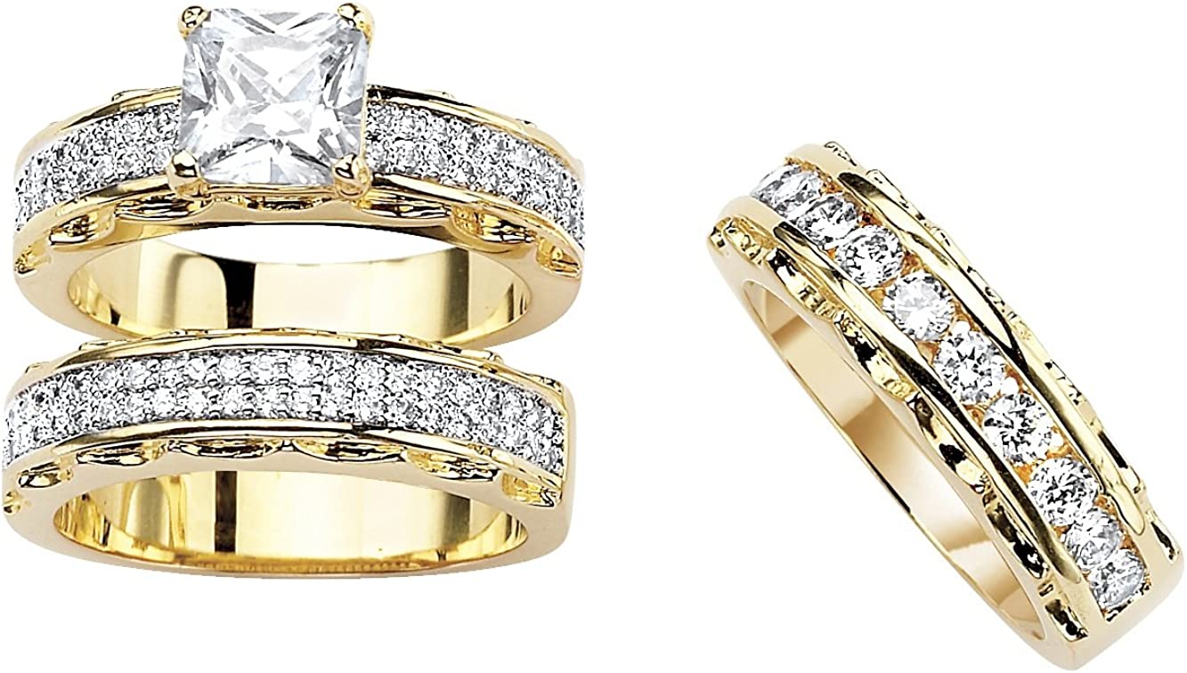 Palm Beach Jewelry 14K Yellow Gold Plated Oval Cut Cubic Zirconia 2 Piece Bridal Ring Set with Free Bonus Ring