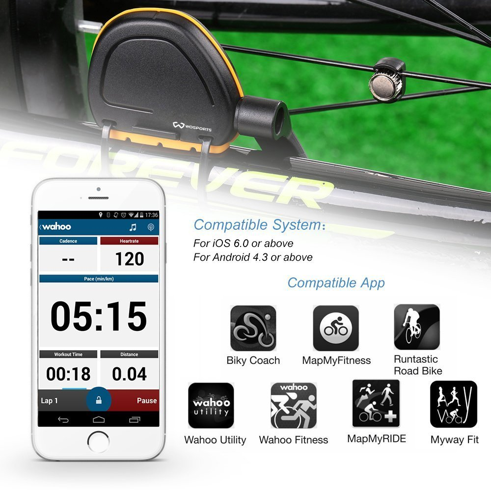 Wosports Bike RPM Speed and Cadence Sensor Wireless Bicycle Computer Speedometer Cycling Odometer APP Control(IOS and Android) by Wosports (Image #3)