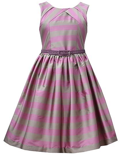 8e3d573cb84 Amazon.com  Big Girls Tween Plum-Purple Silver Belted Stripe Fit ...