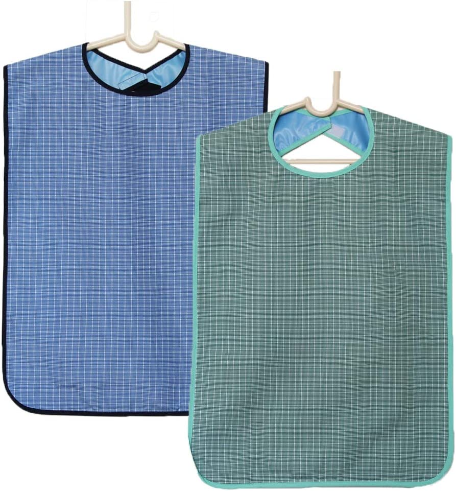 2 Pack Adult Bibs for Eating Adjustable Strap Washable Reusable Waterproof Apron Clothing Protectors for Men Women