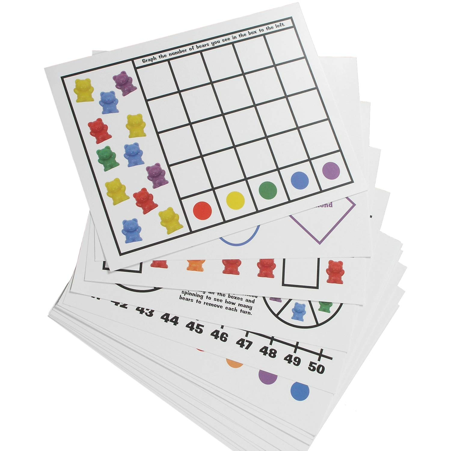 "Legato Counting Bear Activity Sheets and eBook; 20 Large, Glossy Card Stock Sheets (each 8.5"" x 11""); Helps with Patterns, Graphing, Colors, and More! Use with any 1"" bear manipulative with 6 colors."