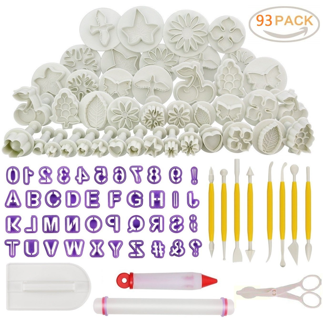 87pcs Cake Decorating Tool Set,Sugarcraft Cookie Mould Icing Plunger Modelling Cutter Tool,Alphabet Letters Rolling Pin Scissors Embosser Mould Tools,Flower Modelling Tools