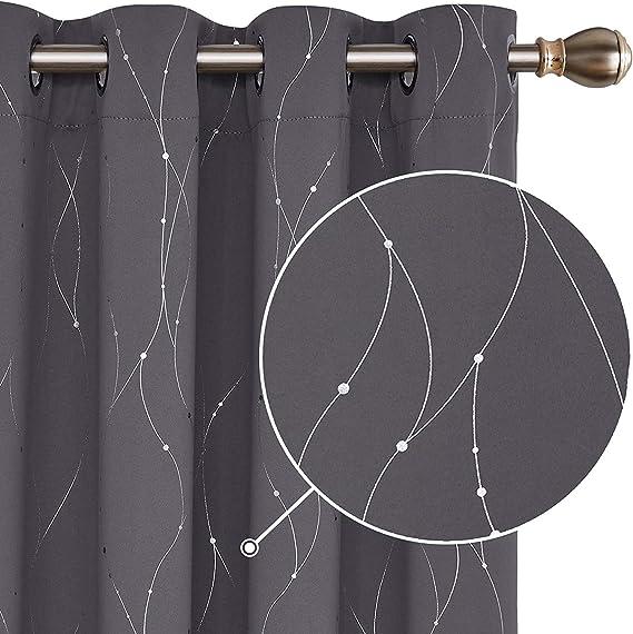 Deconovo Cortina Opaca para Habitación Térmica Aislante con Ojales 2 Piezas 145 x 175 cm Gris Oscuro