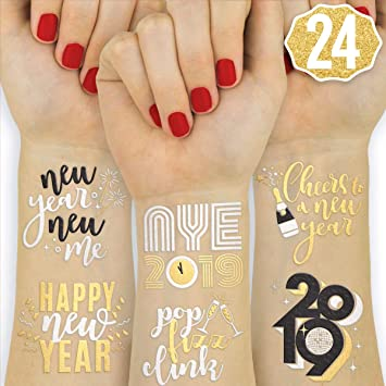 Amazon Com Xo Fetti New Years Eve Party Supplies Tattoos 24