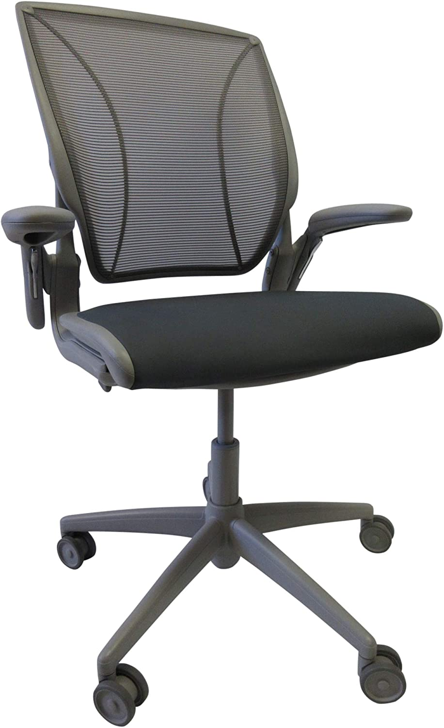 Humanscale Diffrient World Task Chair | Gray Pinstripe Mesh Back and Lotus Hematite Seat | Grey Frame | Height-Adjustable Duron Arms | Standard Foam Seat, 3