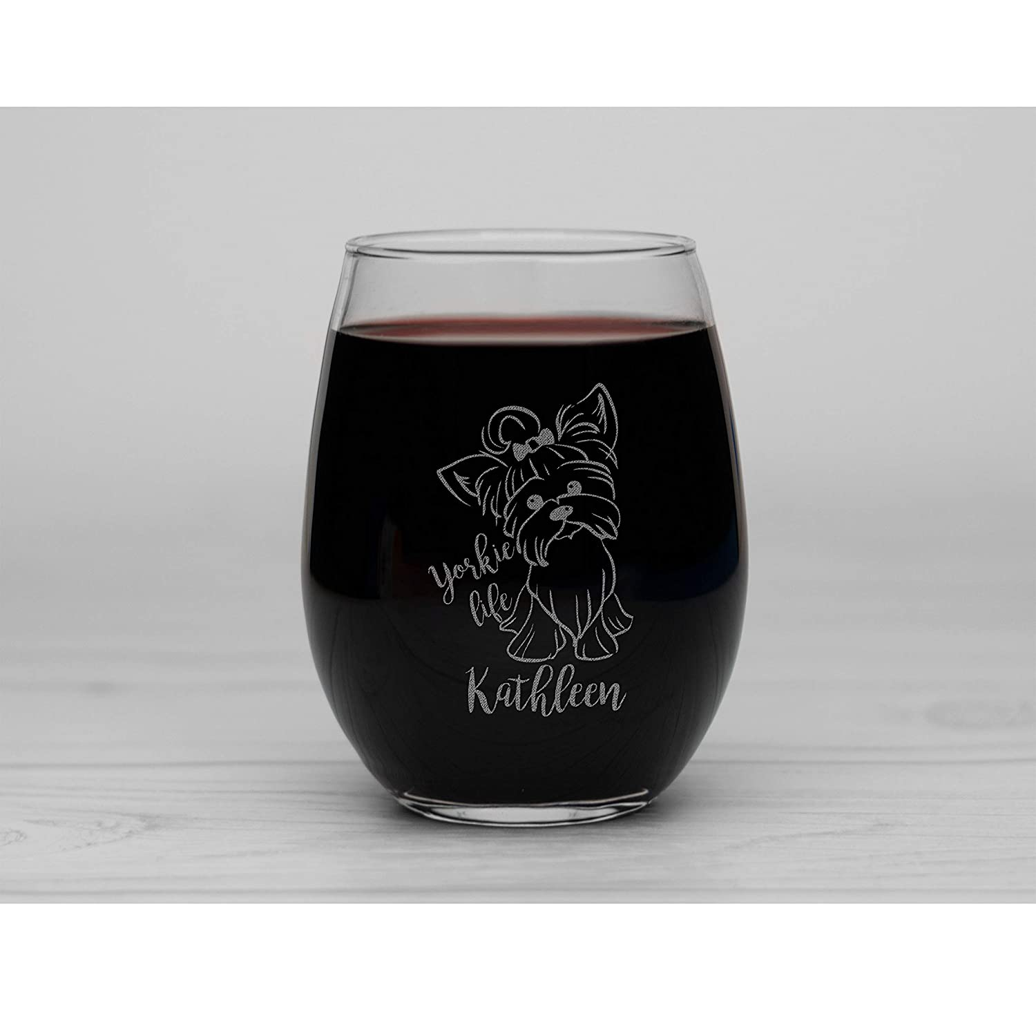 Yorkie Life Personalized Engraved Stemless Wine Glass