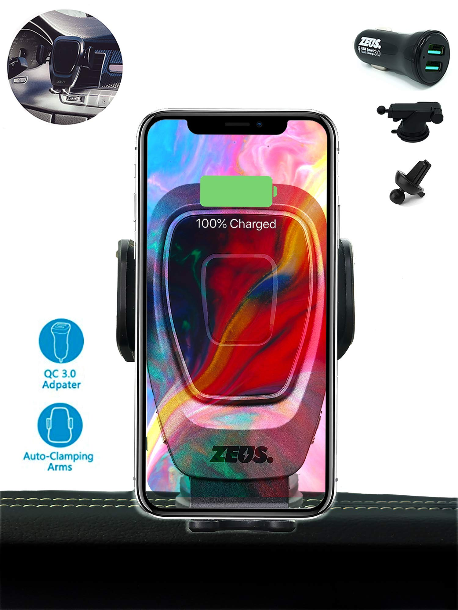 ZEUS 15W Wireless Car Charger Mount, Automatic Clamping, Power Fast Charging Qi Car Charger 10W 7.5W, Vent Dashboard Phone Holder with QC 3.0 Charger, Compatible iPhone Xs Max XR X 8 S10 S9 S8 Note by ZEUS