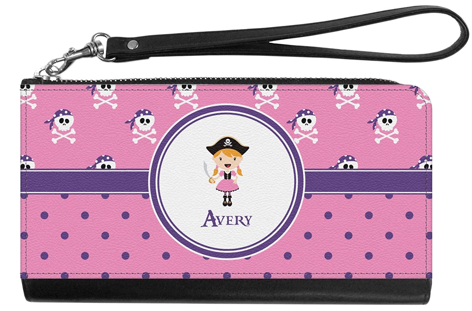 Pink Pirate Genuine Leather Smartphone Wrist Wallet Personalized