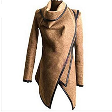 Ivan Johns Warm Hot Sale Irregular Asymmetry Long Trench Coat Women Overcoat Womens Coats Manteau Abrigos