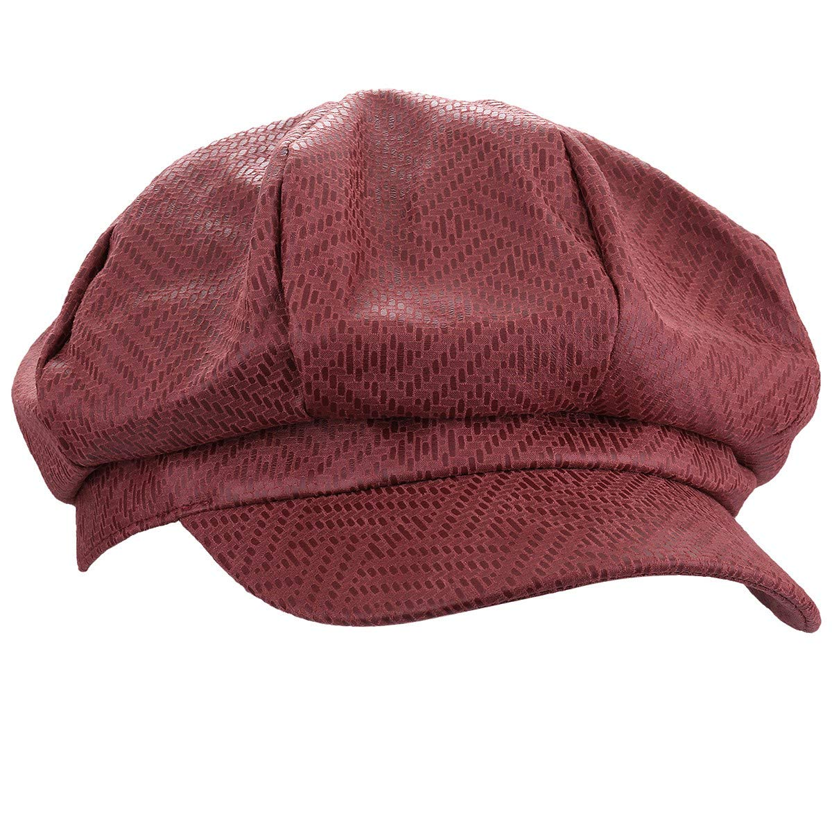 moonsix Newsboy Hat,Plain Cabbie Visor Beret Gatsby Ivy Caps for Women,Red(PU Leather Style 1)