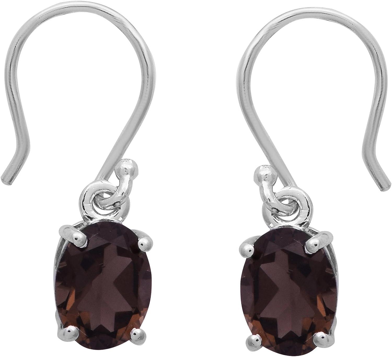 Shine Jewel Pendientes de plata de ley 925 con piedras preciosas de cuarzo ahumado brillante joya para mujer Oval cuarzo ahumado