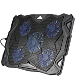 OUTAD ノートパソコンPC用 PCクーラー 冷却ファン 5超静音ファン LEDライト USBポート2つ 自由に高度調節 (5ファン)