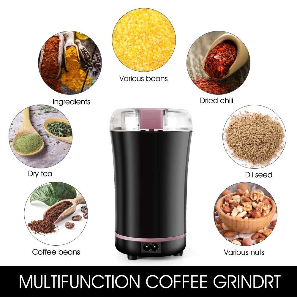 KKTICK Molinillo Eléctrico de Café, Molino triturador de Grano Acero Inoxidable de 150W Potencia Muele Rápido Viene Adecuado para Especias Frutos ...