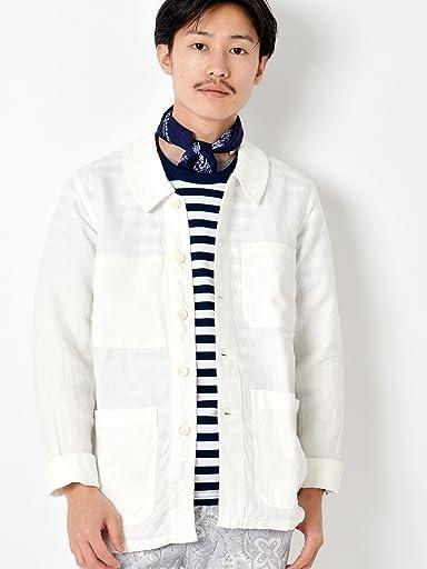 Herringbone Linen French Work Jacket 114-03-0838: Off White