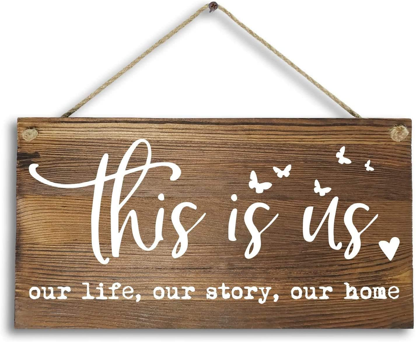 "Fancesca 6""x 12"" Rustic Wood Home Decor Signs Wall Art Plaque -This is Us Our Life Our Story Our Home."