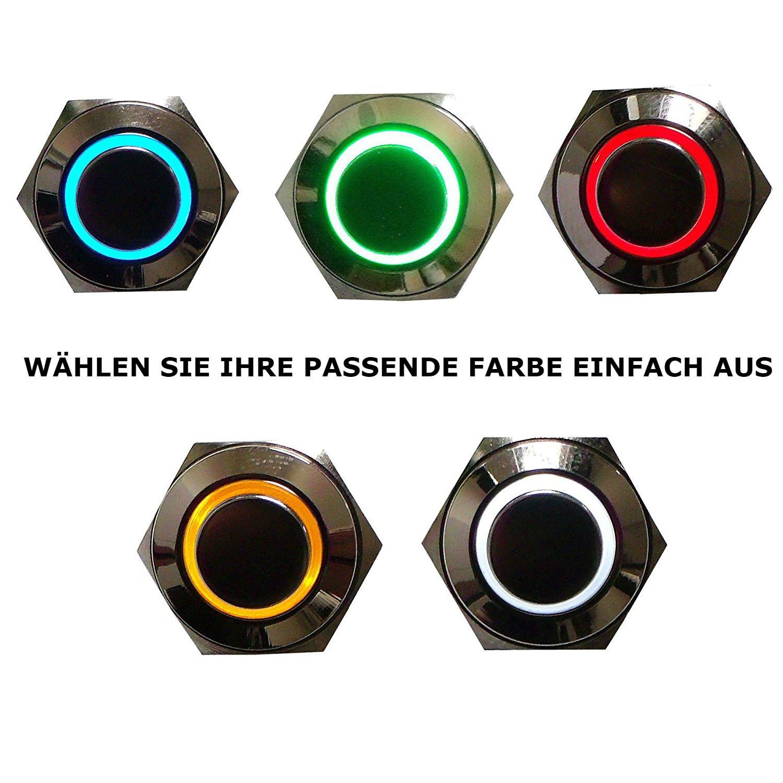 IP65 19mm Klingel Taster Taste Dr/ücker F Drucktaster Knopf KFZ Klingelknopf Hupe Hupenknopf 12V 24V 48V 2A T/ürklingel Klingelknopf 1 polig