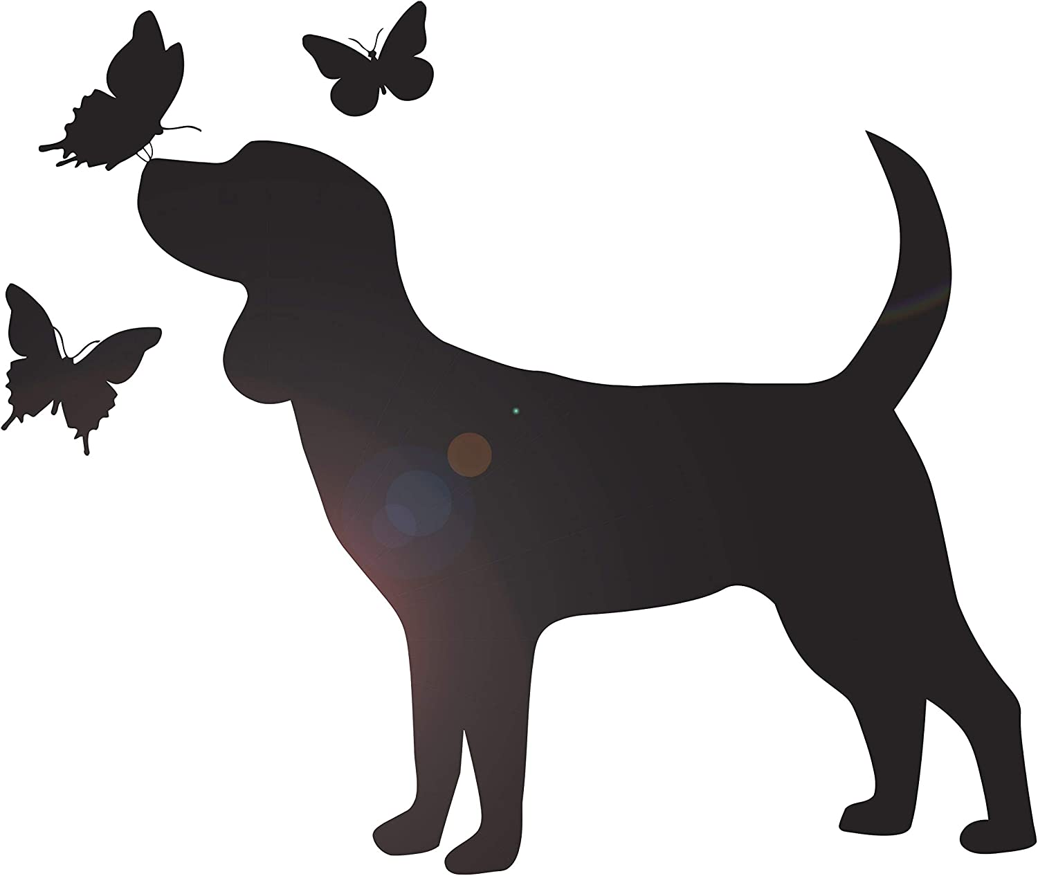 DesignToRefine Vinyl Wall Decal Puppy Dog with Butterflies Silhouette Pet Shop Grooming Stickers Mural Large Decor (ig6275) Black
