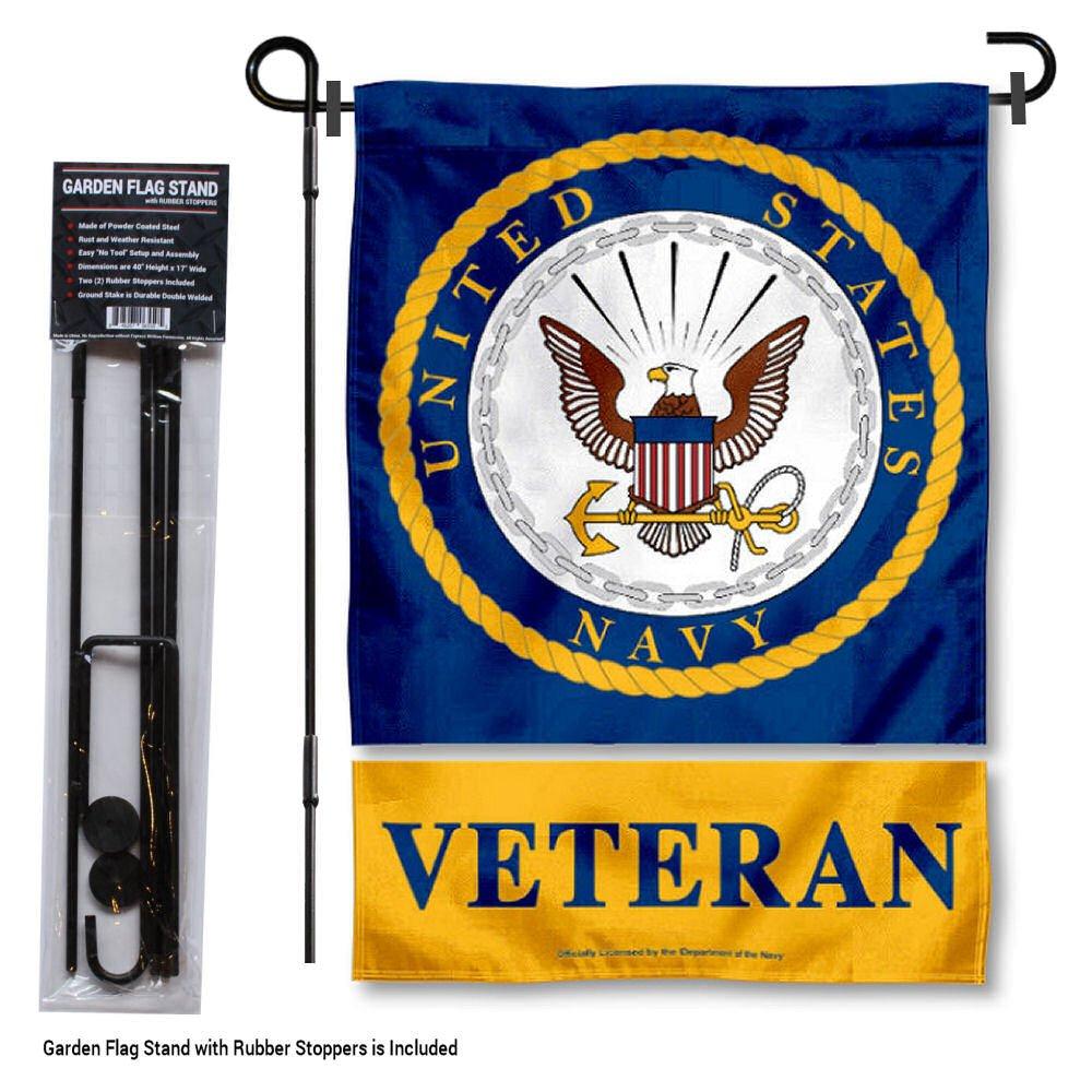 US Navy Midshipmen Veteran Garden Flag with Stand Holder
