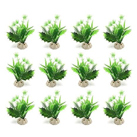 sourcing map Mini Planta 12Pcs Plástico Verde Acuario Pecera Paisaje Acuático Decoración W/Pedestal