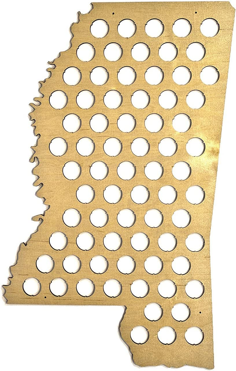 All 50 States Beer Cap Map - Mississippi Beer Cap Map MS - Glossy Wood - Skyline Workshop - Great Father's Day gift!
