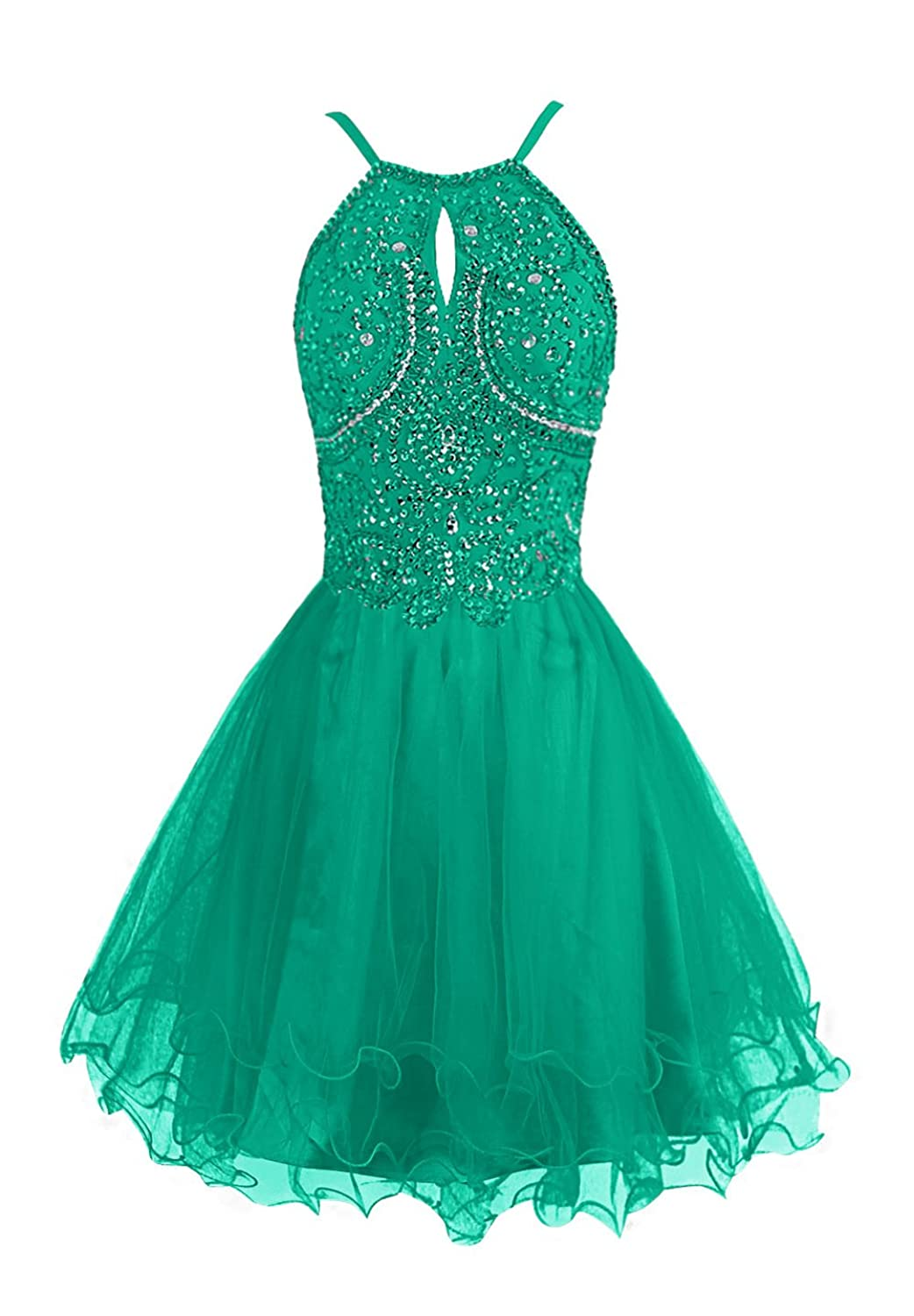 Dressystar Short Tulle Homecoming Prom Dress Spaghetti Straps Crystal Beaded Cocktail Gowns 88937