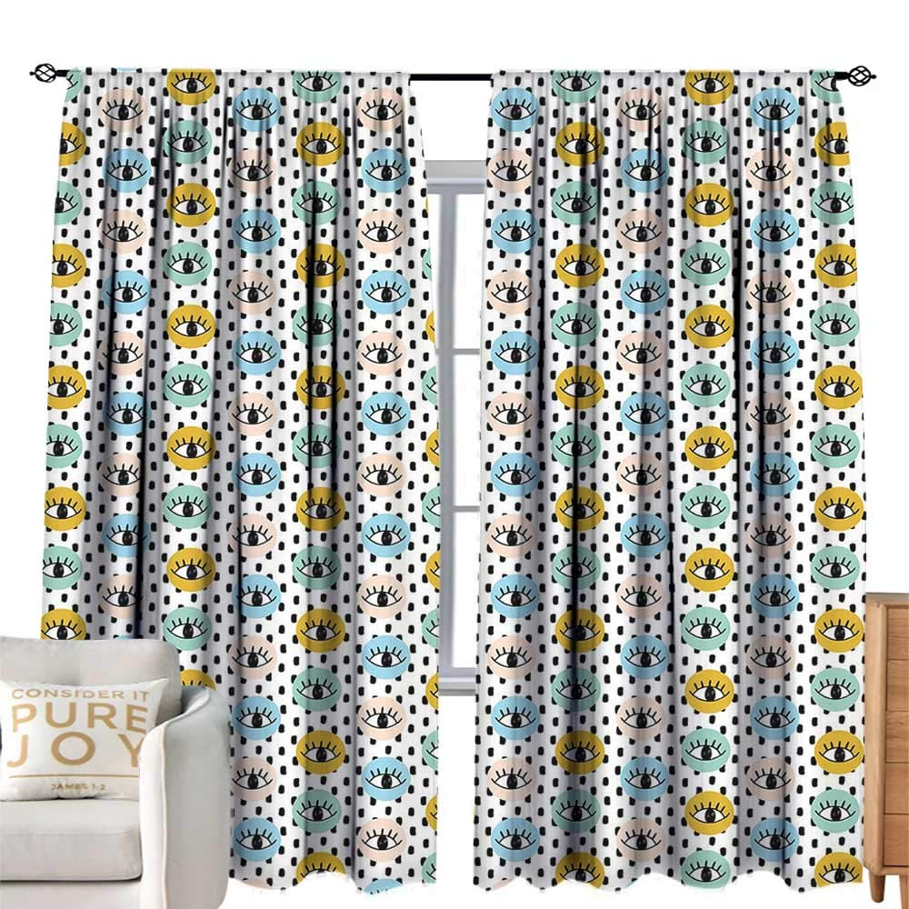 color08 W108 xL84  cobeDecor Insulated Room Blackout Curtain Eyelash Fantastic Eyes with Very Long Lashes Abstract Curly Leaves Nature Inspiration Pale Green Black Privacy Predection W84 xL84