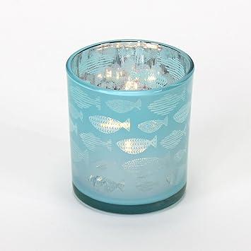6x Windlicht Teelichtglas Kerzenhalter Turkis Blau Silber Kerzenglas