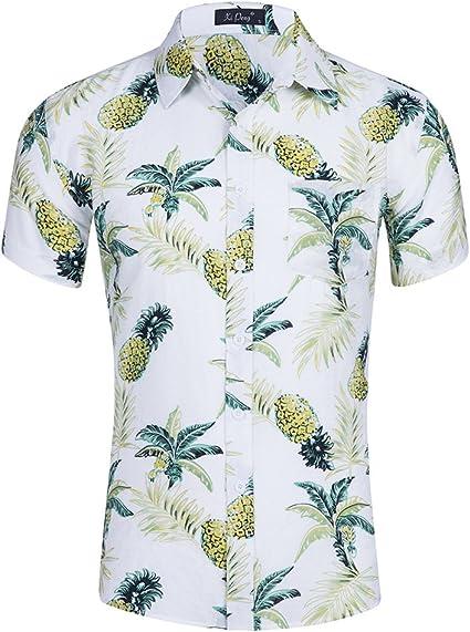 YOJOLO Hombres Camisas Hawaianas Manga Corta Verano Informal ...