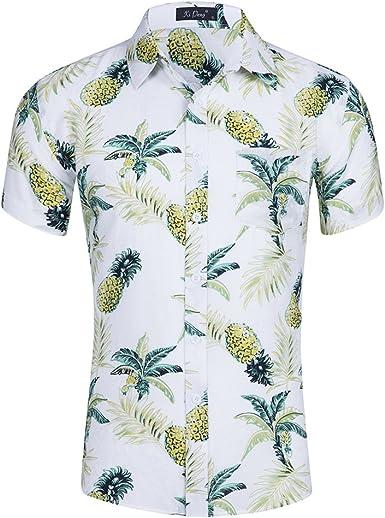 Hombres piña Casual Camisa de Manga Corta Hawaiana de Aloha ...